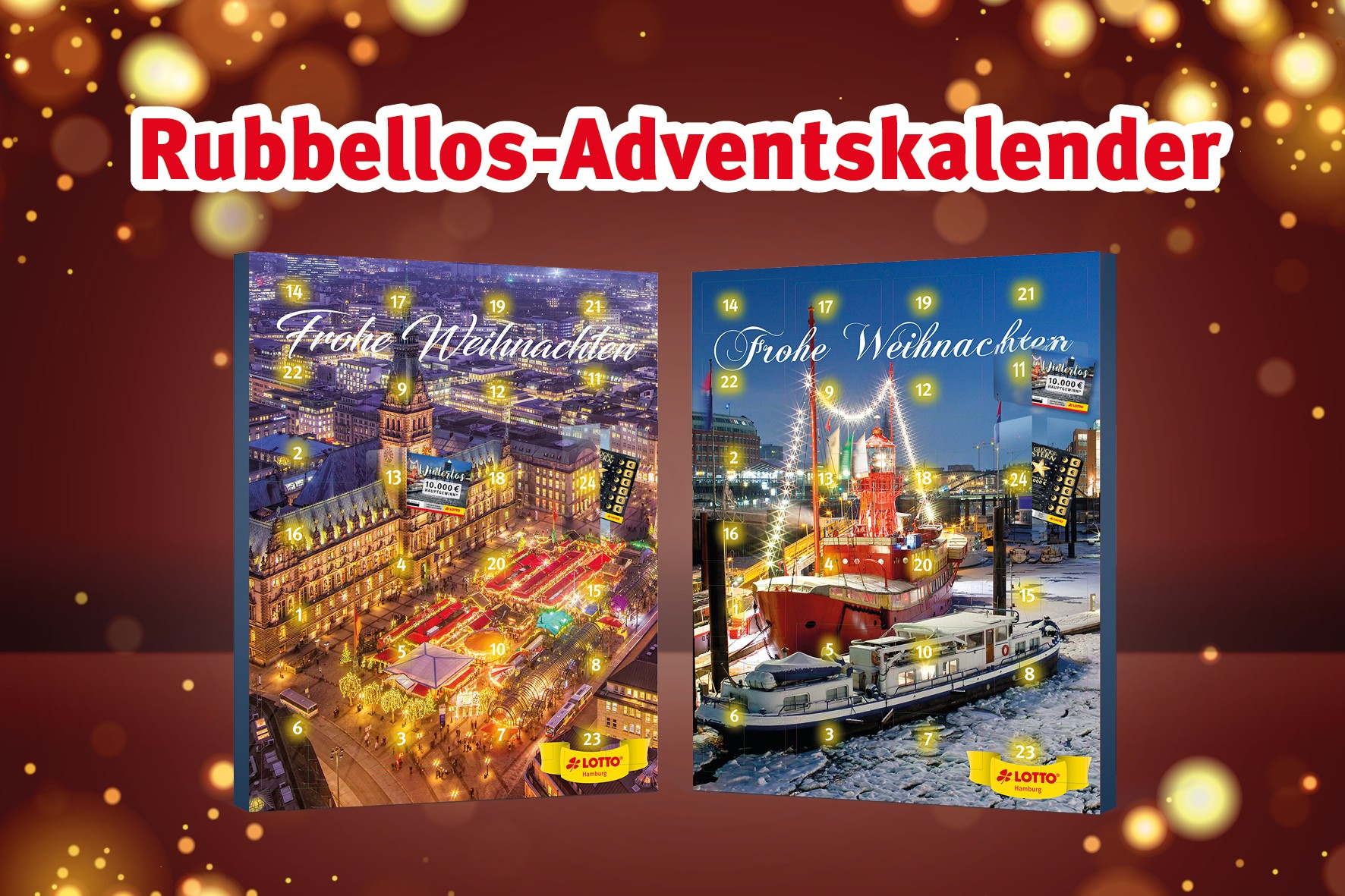 LOTTO 2019 Rubbellos Adventskalender AZ TANGO versch.Formate - DAS GEHT IN HAMBURG + COOLE GEWINNE