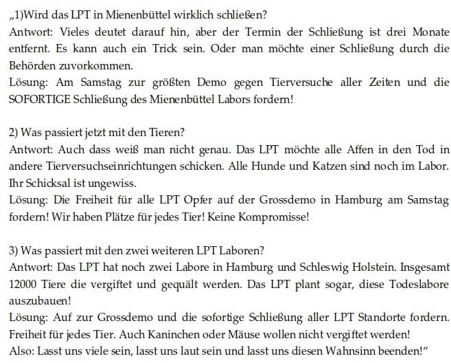 LPT - Demo fordert: Schließt das Todeslabor vor den Toren Hamburgs!