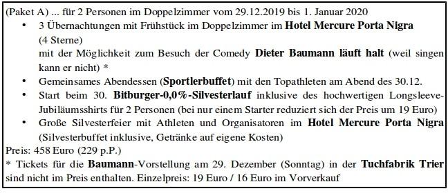 PAKET A 2 - 30. Internationale Bitburger-0,0%-Silvesterlauf in Trier