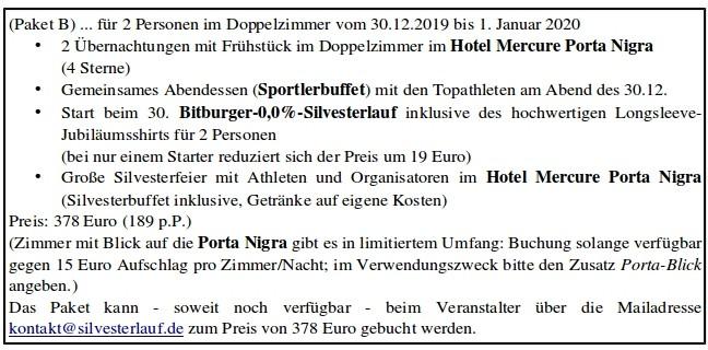 PAKET B 2 - 30. Internationale Bitburger-0,0%-Silvesterlauf in Trier